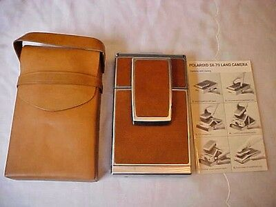 Vintage Brown/Tan & Chrome Polaroid SX-70 Land Camera with Leather Case