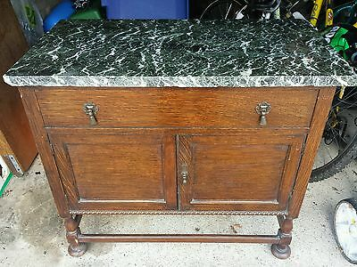 Edwardian Black Marble Top Washstand With Drawer And 2 Door Cupboard