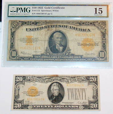 Two Note PMG Large 1922 $10 F 15 & Small 1928 $20 GOLD CERTIFICATE
