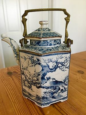 Rare Chinese Footed Jiaqing Persian 6 Sided Blue White Porcelain Teapot