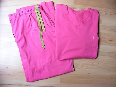 Med Couture Scrubs Set XL Pants 2X Shirt Top EZ Flex Bright Pink/Neon Green