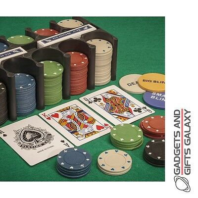 LARGE CASINO GAMES SET inc BETTING CHIPS 2 x CARDS + MAT gadget toy gift adults