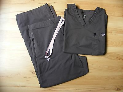 Med Couture Scrubs Set XL Pants 2X Shirt Top EZ Flex Charcoal Gray Pink