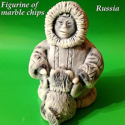Akita puppy dog and child figurine marble chips from Russia miniature figurine