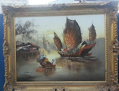 oil painting on canvas framed boats ship Japanese