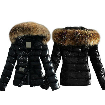 Winter Women Thick Faux Fur Collar Hooded Coat Down Jacket Quilted Padded Parka
