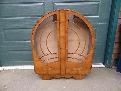 Vintage Art Deco Round Glass Front  Curio Cabinet W/ Two Glass Shelves RARE RARE