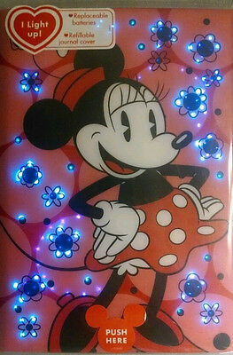 Disney Parks Minnie Mouse Light-Up Writing Journal Notebook Note Pad Diary