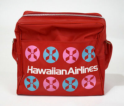 Vintage Hawaiian Airlines Red Travel Carry On Shoulder Bag Tote