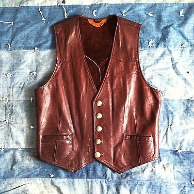 VTG ARIES LEATHER Brown Leather Western VEST Americana BUFFALO Nickel BOULDER CO