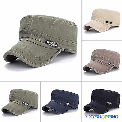 Fashion Mens Adjustable Classic Army Plain Hat Baseball Cadet Military Sport Cap