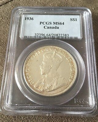 1936 Canadian Silver Dollar PCGS MS64 Canada Coin MS 64