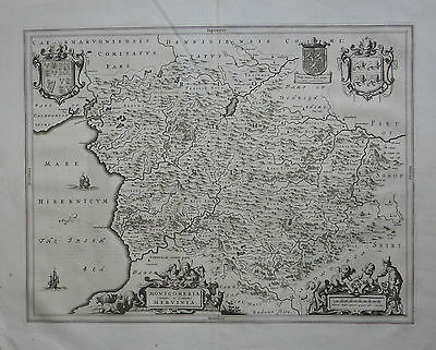 Wales…Attractive map of Montgomery & Merioneth, by Johannes Blaeu c1645