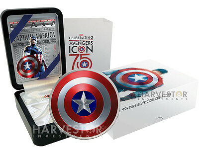 2016 Captain America Shield - 2 Oz Dome-Shaped Coin - Collector Case With Extras