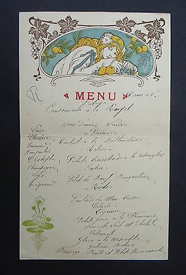 MENU illustré LUC EMERY CHANTECLAIR Café Faugères Versailles Jugendstil no Mucha