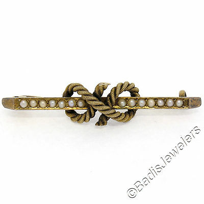 Antique Victorian 15k Yellow Gold Seed Pearl Twisted Rope Knot Bar Brooch Pin