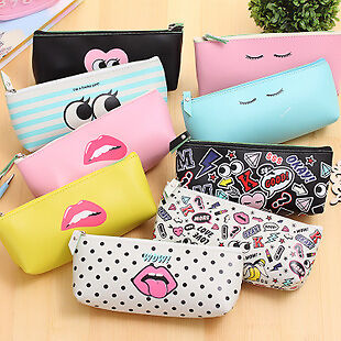 Girls Red Lips Fashion Pencil Case Makeup Pouch