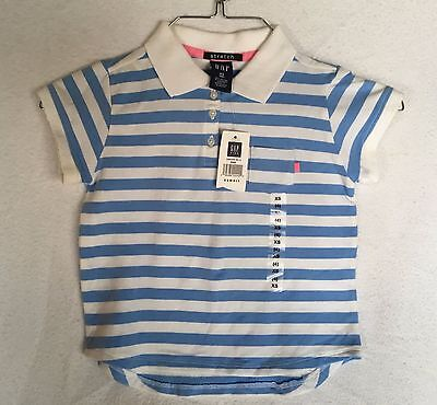 NWT GAP Stretch Girl's Blue and White Striped Short Sleeved Polo Shirt Size XS 4