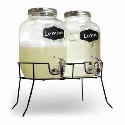 2 X 4 Litre Glass Drink Dispensers On Stand Cocktail Punch Juice Mason Jar Sj600