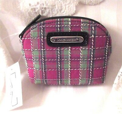 Longaberger HOLIDAY PLAID Coin Case Purse Zippered Top New With Tag