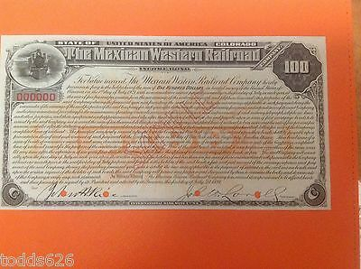 "Orig. State of Colorado / Mexican Western Railroad Company Income Bond ""Sample"""