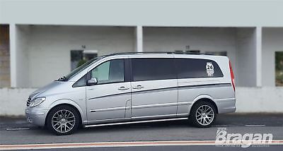 To Fit 2014+ Mercedes Vito Viano Extra LWB Side Bars Tubes Running Boards Van