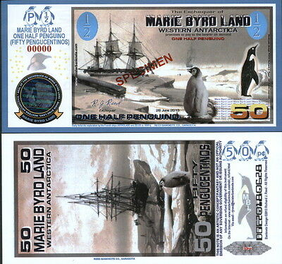 New Polymer 2013 Marie Byrd Land Half Penguino Scarce Specimen Fantasy Art Note!