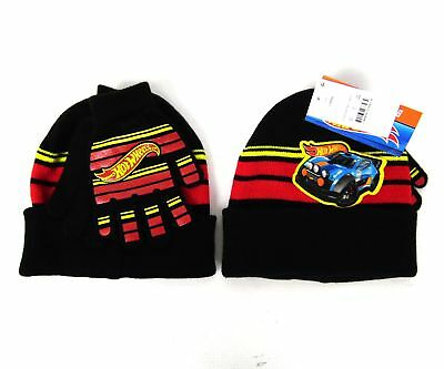 LOT OF 2 Boys Hot Wheels Cars Beanie Winter Hat & Glove Set Black Red Yellow