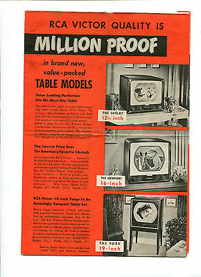 Vintage Advertising brochure RCA VICTOR Televisions Table & cabinet models