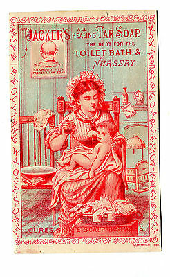 Victorian Trade Card PACKER'S HEALING TAR SOAP Mother w Baby