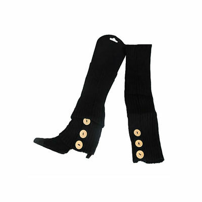Women's Black Knit Leg Warmers with Buttons
