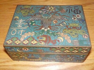 Antique Chinese Signed Cloisonne Box with Cover Bird of Phoenix China