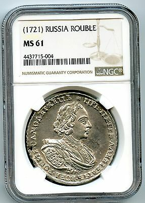 Russian Rouble 1721 NGC MS-61 Peter The Great