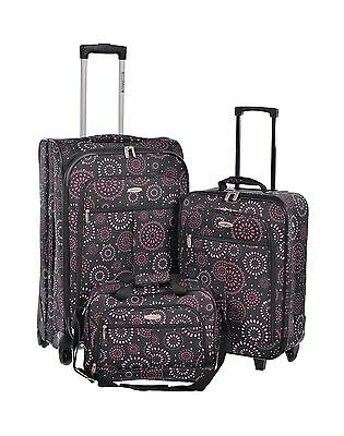 Millenium Fireworks 3 Piece Checked and Carry On with Tote Bag Luggage Se... New