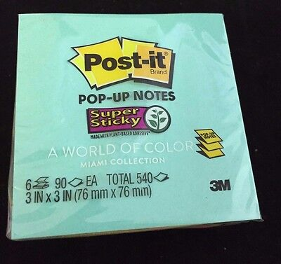 Pack of 6 Pads - Neon Post-It Sticky Notes 3x3 540 Sheets