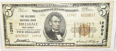 1929 $5 NATIONAL CURRENCY BANK NOTE One Bank Town HILLSDALE, NEW JERSEY P-12902