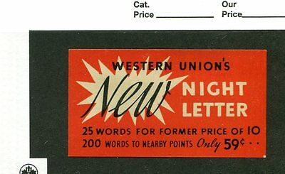 Vintage Poster Stamp Label WESTERN UNION Telegraph NEW NIGHT LETTER 59cents #IM