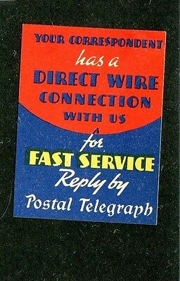 Vintage Poster Stamp Label POSTAL TELEGRAPH Direct Wire Connection