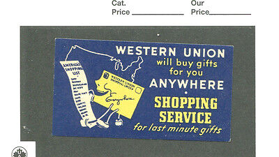 Vintage Poster Stamp Label WESTERN UNION Telegraph SHOPPING SERVICE ANYWHERE