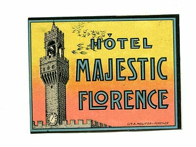 Vintage Hotel Luggage Label HOTEL MAJESTIC Florence Italy small