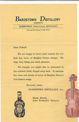 Bardstown Distillery Bond Bourbon Violin shape songbook Stephen Foster +letter