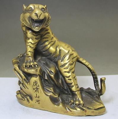 Old Chinese Fengshui Folk Brass 12 Zodiac Year Tiger Animal Statue sculpture