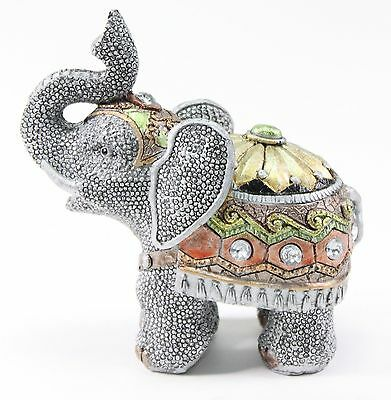"Feng Shui 4.5"" Gray Elephant Trunk Statue Lucky Figurine Gift Home Decor"