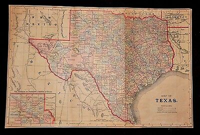 Large Antique Original 1890 Map of Texas by Mast, Crowell & Kirkpatrick