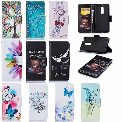 For Nokia PU leather phone case Plum blossom tree patterns wallet magnetic stand