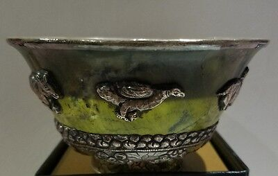 Vintage Jade with Sterling Silver Bowl