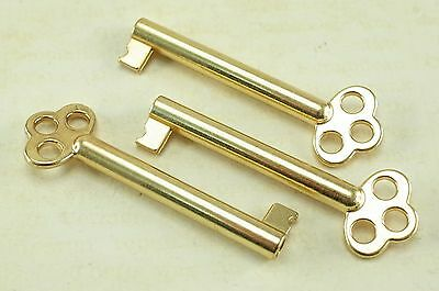 (Lot of 3) Vintage Style Open Barrel Skeleton Key Furniture Cabinet  Brass Color