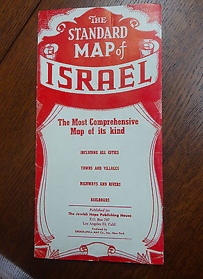 Vintage 1949 Israel Map Large Fold Out 26X36 inches Colored UN Partitions & More