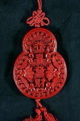 Superb Antique Chinese Carved Cinnabar Lacquer Necklace Pendant 19th Century