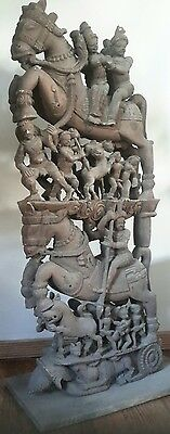 Antique Ritual Chariot Temple Horse Hand Carved Wood Statue INDIA Erotic God Art